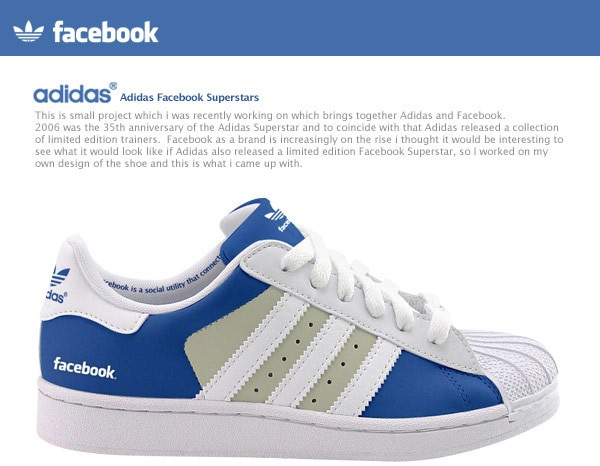 Both shoes feature the colors associated with the social media websites  along with the logos on the heel. The words 'Facebook is a social utility  that ...